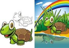 Schildpad op rivier Stock Foto