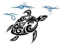 Schildpad in overzees water Royalty-vrije Stock Afbeelding