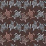 Schildpaddenpatroon op bruine achtergrond Royalty-vrije Stock Foto's