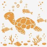 Schildpadsilhouet Stock Afbeeldingen
