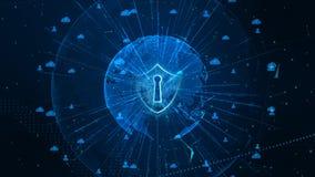 Schildpictogram op Veilig Mondiaal Net, Cyber-Veiligheid en Beschermings van persoonsgegevens concept r royalty-vrije stock afbeeldingen