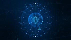 Schildpictogram op Veilig Mondiaal Net, Cyber-Veiligheid en Beschermings van persoonsgegevens concept r stock fotografie