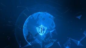 Schildpictogram op veilig mondiaal net, Cyber-veiligheidsconcept r royalty-vrije stock foto