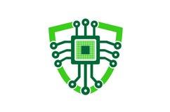 Schildtechnologie Logo Design Illustration Stock Afbeelding