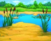 Schilfe durch den Fluss an einem Sommer-Tag vektor abbildung