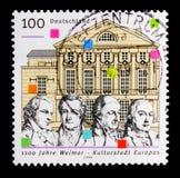 Schiller, Goethe, Wieland, mandriano, teatro nazionale tedesco, 1100th anniversario di Weimar, città europea del serie della cult immagini stock libere da diritti