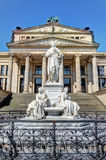 Schiller Statue and Concert Hall in Gendarmenmarkt, Berlin Royalty Free Stock Photo