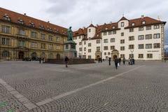 Schillerplatz - Quadrat in der alten Stadt stuttgart Lizenzfreie Stockfotos