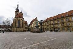 Schillerplatz - square in the old city, Stuttgart. Royalty Free Stock Photography