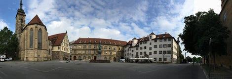 Schillerplatzpanorama, Stuttgart Royalty-vrije Stock Afbeelding