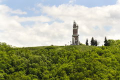 Schillers Lookout near Kryry, Czech republic with blue cloudy sky Royalty Free Stock Photos