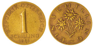 1 schilling 1961 coin isolated on white background, Austria Stock Photos