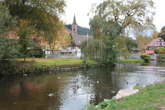 Schiltach svart skog, Tyskland Arkivbild