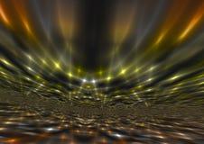Schimmernder abstrakter gelber helle Strahln-Hintergrund Lizenzfreies Stockfoto