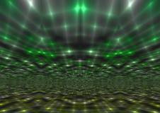 Schimmernder abstrakter grüner helle Strahln-Hintergrund Stockbilder