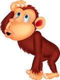 Schimpansekarikaturdenken Lizenzfreies Stockfoto
