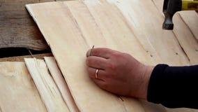 Schindelerschütterung Roofer der Zeder tragendes Pflaster hölzernen in seinem linken Zeigerfinger stock video