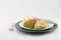 Schinken u. Schweizer-Angefüllte Kartoffel Lizenzfreie Stockbilder