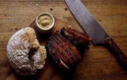 Schinken und Brot stockbild