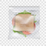 Schinken- und Gemüsesandwich im transparenten Siegel- Plastik-zoplock bauschen sich stock abbildung