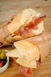 Schinken und Käse bocadillo Stockbild
