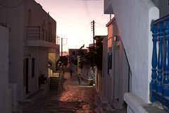 Schinoussa Chora, village street nightlife, Naxos Greece Royalty Free Stock Photos