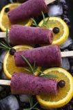Schiocchi del gelato del yogurt di mirtillo Dessert sano Produc casalingo Immagini Stock