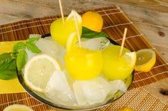 Schiocchi del ghiaccio del limone Immagini Stock Libere da Diritti