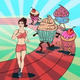 Schiocco adatto Art Woman Running dei giovani a partire dai dolci e dai dessert Fotografie Stock