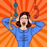Schiocco Art Angry Frustrated Woman Screaming sul lavoro d'ufficio Immagini Stock Libere da Diritti