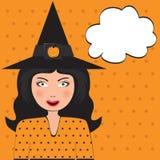 Schiocco Art Beautiful Witch con lo spazio della copia Illustrazione Vettoriale