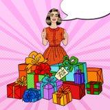 Schiocco Art Beautiful Woman con i contenitori ed i pollici di regalo enormi su Immagine Stock Libera da Diritti