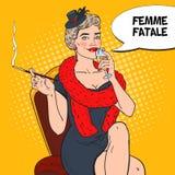 Schiocco Art Beautiful Woman in pelliccia con vetro di Champagne Fatale di Femme Retro illustrazione Fotografia Stock Libera da Diritti