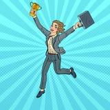 Schiocco Art Business Woman Running con la tazza dorata del vincitore Fotografia Stock