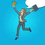 Schiocco Art Business Woman Running con la tazza dorata del vincitore Immagine Stock