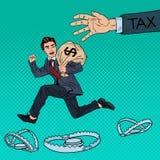 Schiocco Art Businessman Escapes Taxes con la borsa dei soldi Immagine Stock Libera da Diritti