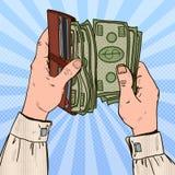 Schiocco Art Businessman Hands Holding Wallet con soldi Fotografie Stock