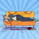 Schiocco Art Businessman Sleeping sul sofà dopo corporativo illustrazione di stock