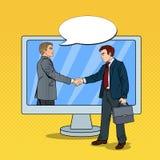 Schiocco Art Businessmen Shake Hands Through lo schermo di computer Contratto di affari Fotografia Stock