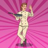 Schiocco Art Chef Smiling Woman in uniforme con il segno della mano di APPROVAZIONE di Pan Showing illustrazione vettoriale