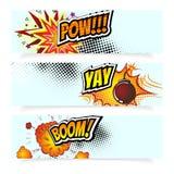 Schiocco Art Comic Book Vector Illustration Elementi di disegno Bomba di esplosione, nuvola del vapore, effetti sonori, semitono Fotografia Stock