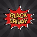 Schiocco Art Comic Discount Poster dell'insegna di web di vendita di Black Friday Fotografia Stock Libera da Diritti