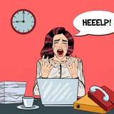 Schiocco Art Crying Stressed Business Woman che grida sul multi lavoro d'ufficio di incarico illustrazione vettoriale