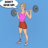 Schiocco Art Disabled Woman con la protesi della gamba in palestra con il bilanciere Sport handicappato Atleta paralimpico illustrazione vettoriale
