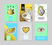 Schiocco Art Fashionable Posters Set Le insegne d'avanguardia di modo 80s-90s con i distintivi e le toppe per i cartelli, copertu royalty illustrazione gratis