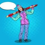 Schiocco Art Happy Woman con lo sci sulle vacanze invernali Fotografie Stock Libere da Diritti