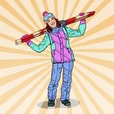 Schiocco Art Happy Woman con lo sci sulle vacanze invernali Fotografie Stock
