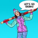 Schiocco Art Happy Woman con lo sci sulle vacanze invernali Immagini Stock Libere da Diritti