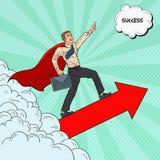 Schiocco Art Hero Super Businessman Flying illustrazione vettoriale