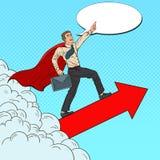 Schiocco Art Hero Super Businessman Flying illustrazione di stock